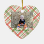 First Christmas Green Red Plaid Ornament Custom
