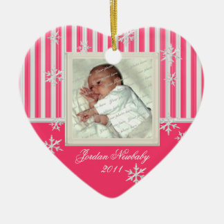 First Christmas Heart and Snowflakes Pink Ceramic Ornament