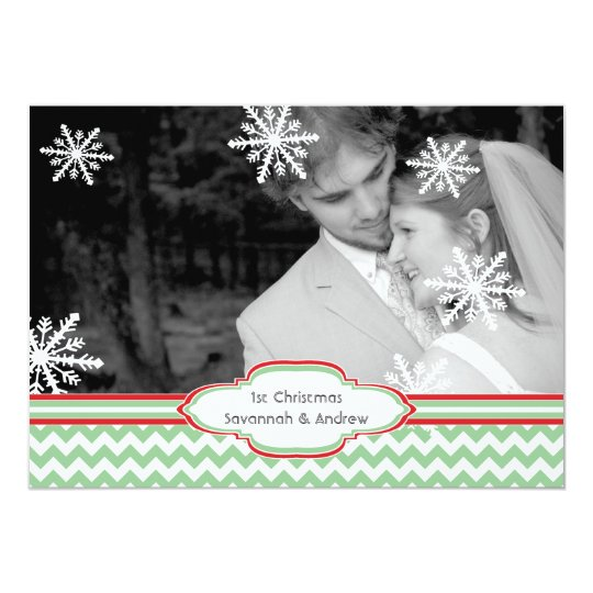 First Christmas Holiday Flat Photo Card Chevron