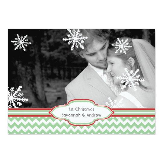 First Christmas Holiday Flat Photo Card Chevron
