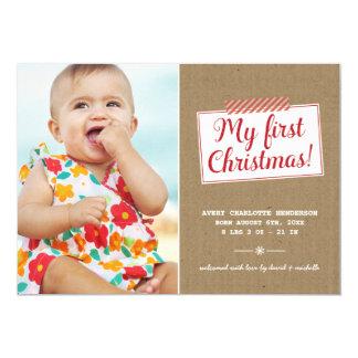 "First Christmas   Holiday Photo Card 5"" X 7"" Invitation Card"