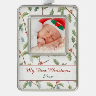 First Christmas Holly and Custom Photo Ornament