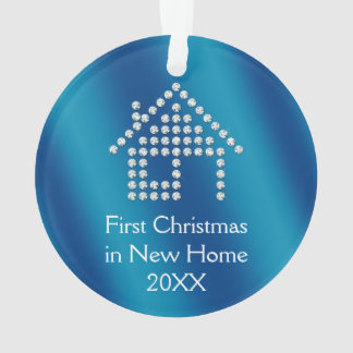 First Christmas in New Home 20XX   Blue metallic Ornament
