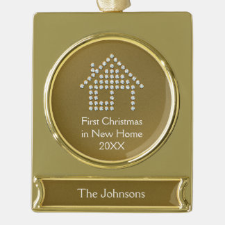 First Christmas in New Home 20XX Gold Plated Banner Ornament
