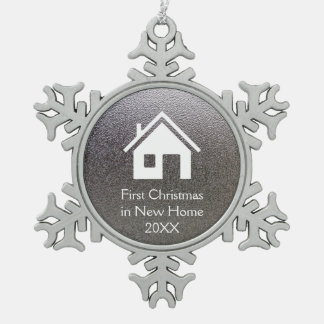 First Christmas in New Home 20XX   Lovely Snowflake Pewter Christmas Ornament