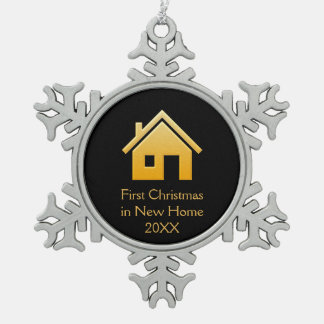 First Christmas in New Home 20XX   Orange Snowflake Pewter Christmas Ornament