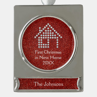 First Christmas in New Home 20XX   Red Glitter Silver Plated Banner Ornament