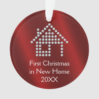 First Christmas in New Home 20XX   Red metallic Ornament