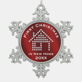 First Christmas in New Home 20XX | Red Snowflake Pewter Christmas Ornament