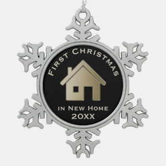 First Christmas in New Home 20XX Snowflake Pewter Christmas Ornament