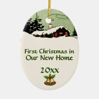 First Christmas in New Home Country Cabin Ceramic Ornament