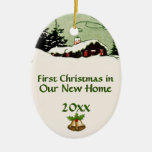First Christmas in New Home Country Cabin Double-Sided Oval Ceramic Christmas Ornament
