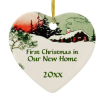 First Christmas in New Home   Country Cabin Heart Ceramic Ornament
