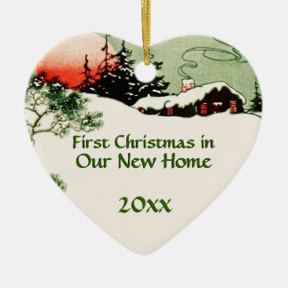 First Christmas in New Home | Country Cabin Heart Ceramic Ornament