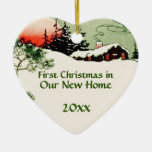 First Christmas in New Home Country Cabin Heart Double-Sided Heart Ceramic Christmas Ornament