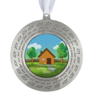 First Christmas in New Home   Cute Round Pewter Christmas Ornament
