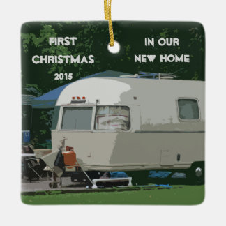 First Christmas in New Home Old Vintage Camper Ceramic Ornament