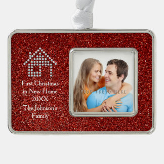 First Christmas in New Home | Red Glitter Christmas Ornament
