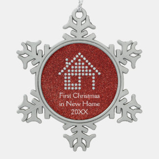 First Christmas in New Home | Red Glitter Snowflake Pewter Christmas Ornament