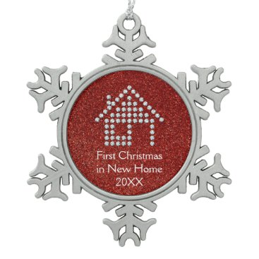 Christmas Themed First Christmas in New Home | Red Glitter Snowflake Pewter Christmas Ornament