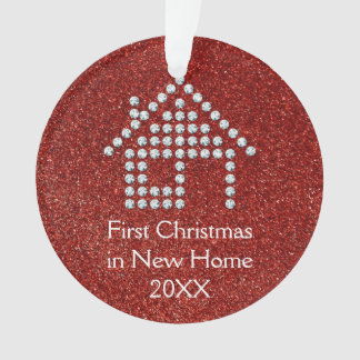 First Christmas in New Home   Whimsical Red Ornament