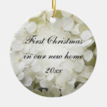 First Christmas in New Home White Hydrangea Ceramic Ornament