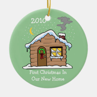 First Christmas In Our New Home 2010 (Cabin) Ceramic Ornament