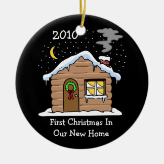 First Christmas In Our New Home 2010 Cabin Christmas Ornament