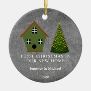 First Christmas in our new Home chalkboard Ceramic Ornament