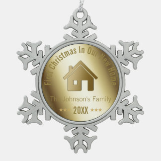 First Christmas In Our New Home | Golden Snowflake Pewter Christmas Ornament