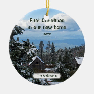 First Christmas in our new home Personalize Ceramic Ornament