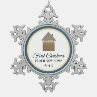 First Christmas In Our New Home Snowflake Pewter Christmas Ornament