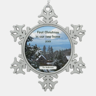 First Christmas in our new home Template Snowflake Pewter Christmas Ornament