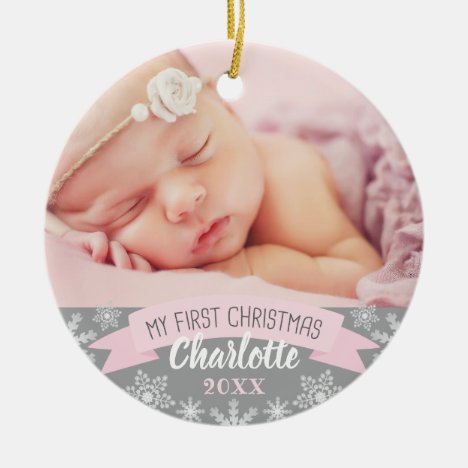 First Christmas Light Pink Baby Girl Photo Ceramic Ornament