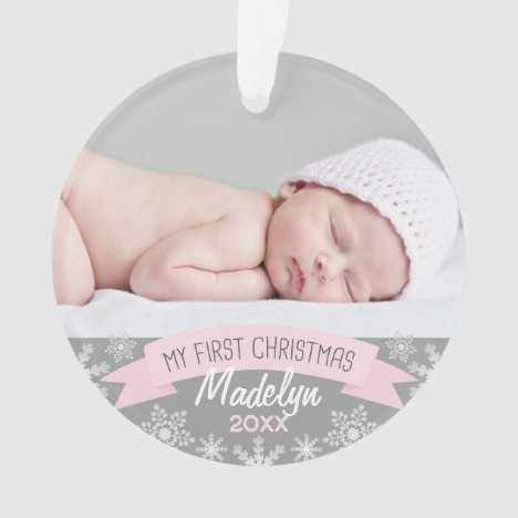 First Christmas Light Pink Baby Girl Photo Ornament