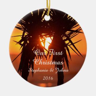 First Christmas Love Peace Joy Forever Tropical Ceramic Ornament