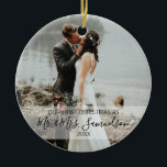 "First Christmas Married as Mr. & Mrs. PHOTO Ceramic Ornament<br><div class=""desc"">Elegant Christmas holiday  photo ornament for first married Mr. and Mrs Name.  Personalize them by adding your name.  Makes a perfect keepsake gift for your spouse (husband or wife)</div>"