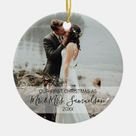 First Christmas Married as Mr. & Mrs. PHOTO Ceramic Ornament