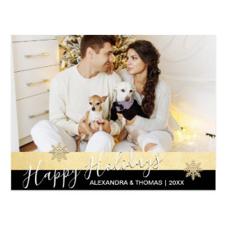 First Christmas Married Engaged GOLD   PHOTO Postcard