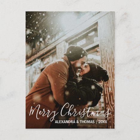 First Christmas Married Engaged White | PHOTO Holiday Postcard