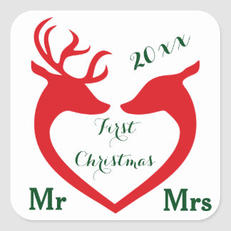 First Christmas Married Mr and Mrs Heart Deer Square Sticker