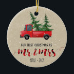 "First Christmas Married Ornament Personalized Gift<br><div class=""desc"">First Christmas Married Ornament Personalized Gift with red truck and red plaid