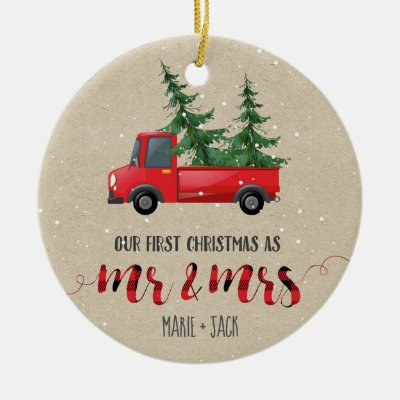 First Married Christmas Personalized Ornament | Zazzle.com