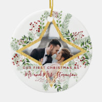 First Christmas Married Photo Gift Ceramic Ornament