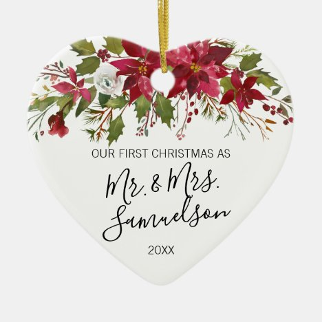 First Christmas Married Red Poinsettia Watercolor Ceramic Ornament