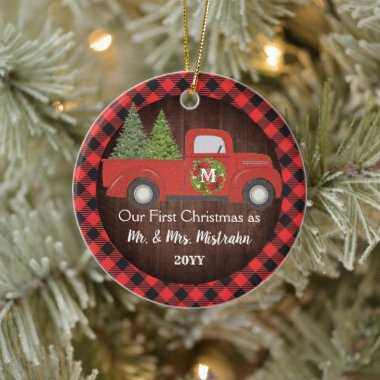 First Christmas Married Truck Plaid Mr. Mrs. PHOTO Ceramic Ornament