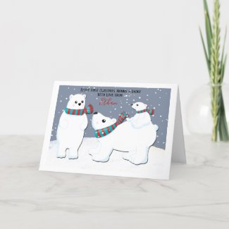 First Christmas Mommy And Daddy Polar Bear Family Holiday Card