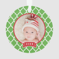 First Christmas Monogram Photo Holiday Ornament