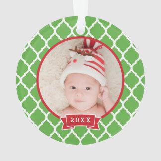First Christmas Monogram Photo Holiday Ornament