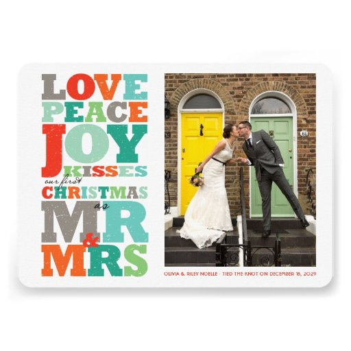First Christmas Mr and Mrs Holiday Photo Greetings Cards